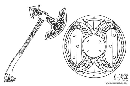 Skyrim axe and shield blueprint