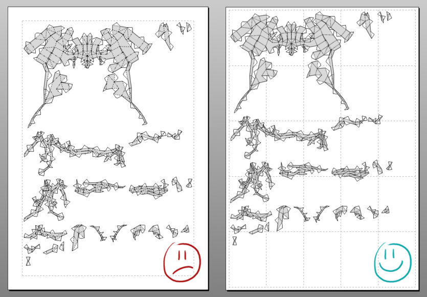 Left: model shrinked on one A4 sheet / Right: real size model ( spread over twenty sheets)