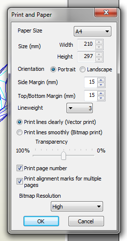 Print and paper settings Pepakura
