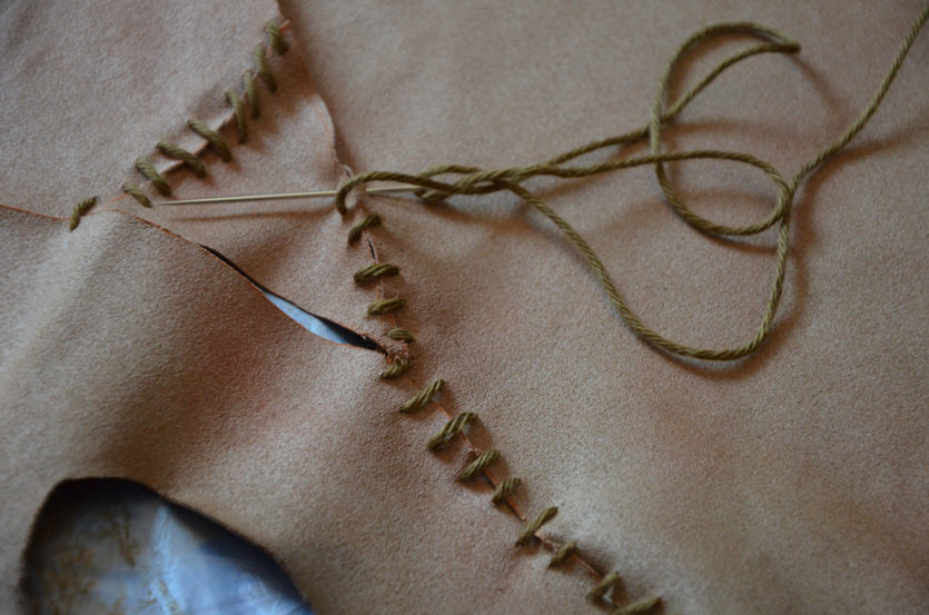 Stitching with embroidery thread
