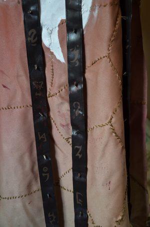 Textile painted symbols