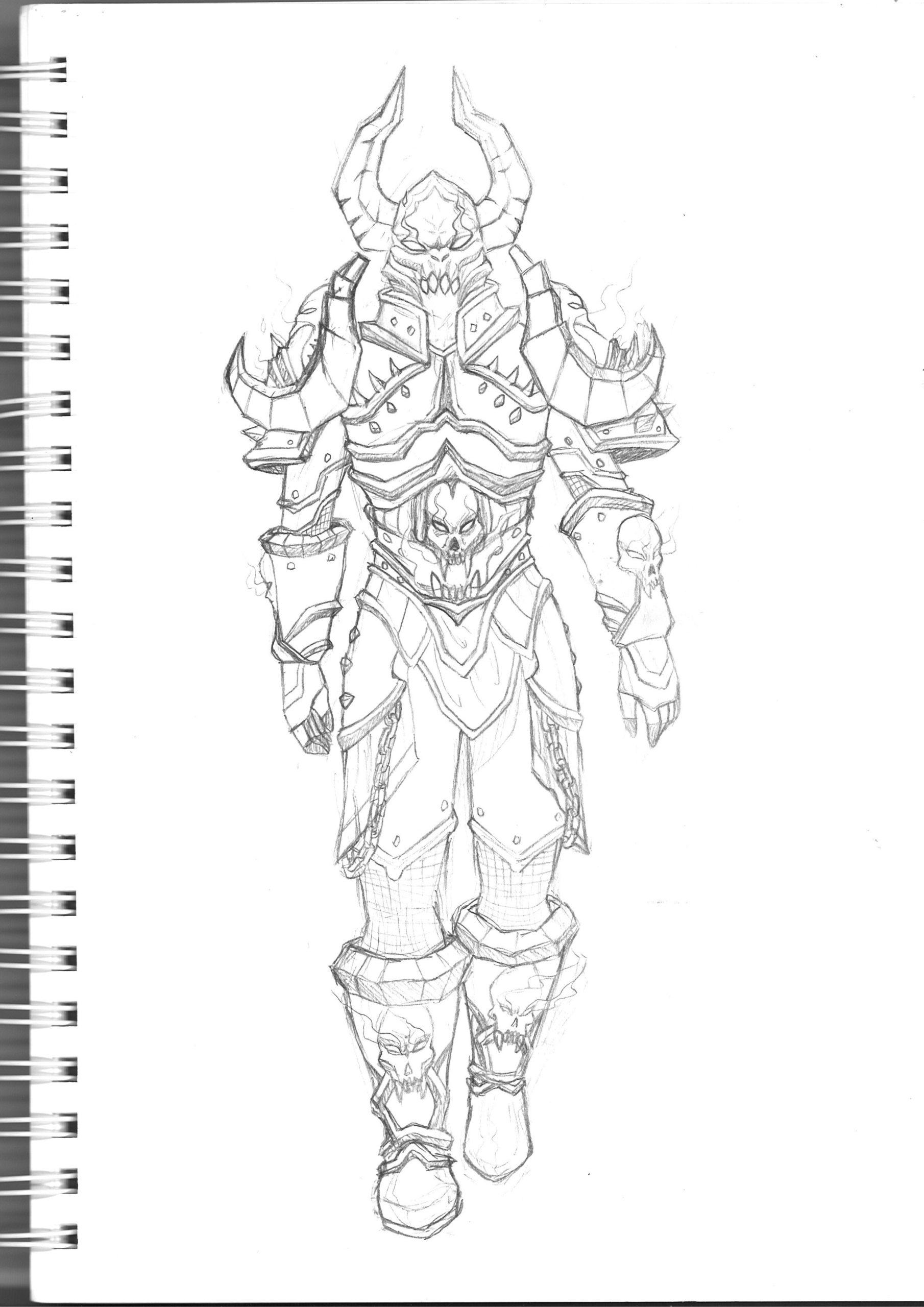 croquis armure cosplay