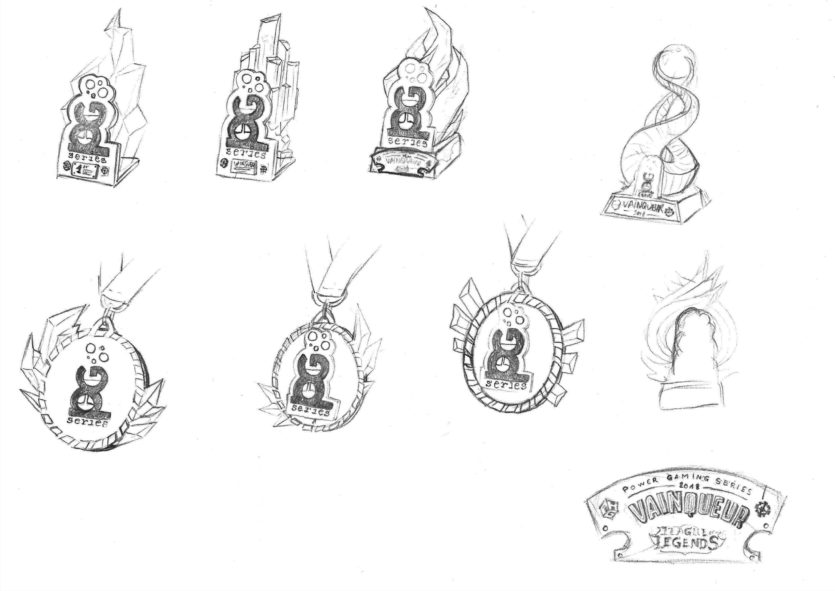 Esport trophy pencil sketches